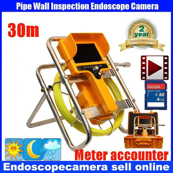 2017 Hot Sale Waterproof 30M 512Hz Sonde Recording Self Leveling Long Spring Handheld Drain Sewer Pipe Inspection DVR Camera