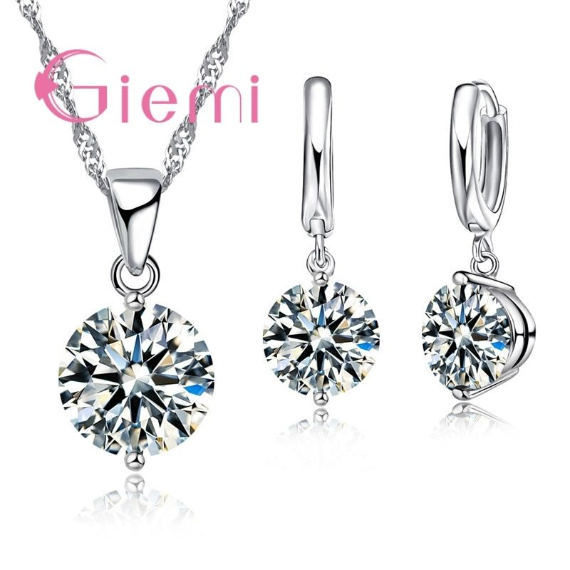 925 Sterling Silver Sweet Romantic Round Austrian Crystal Clear Cubic Zirconia Stone Bride Wedding Ceremony Jewelry