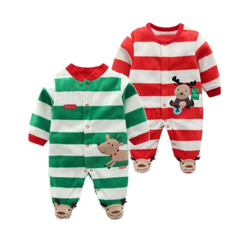 Noël 2019 nouveau-né bébé barboteuse bébé garçons barboteuse chaude polaire bébé combinaison 0-12M pas cher vêtements pour bébés d'orangemom
