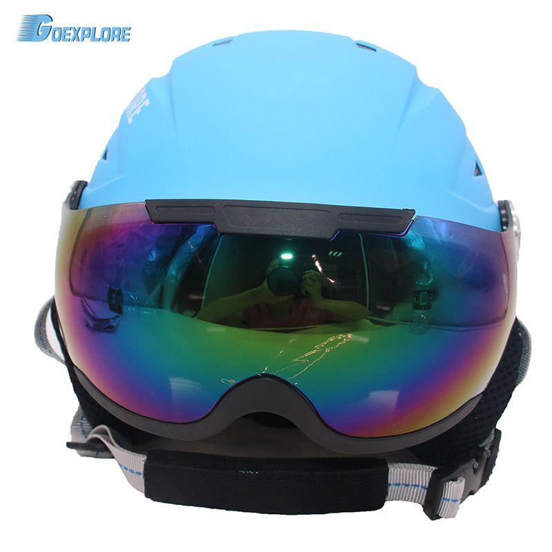 Goexplore Schnee Helm mit PC Goggles männer frauen Kinder angeformten EPS CE Zertifizierung Sicherheit Skifahren Skating Ski Helm