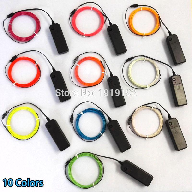 1.3mm 360 Degrés D'éclairage Flexible EL Fil Glow Corde Câble bande LED Neon Light Pour Partie Décor Propulsé par 2AA Batterie