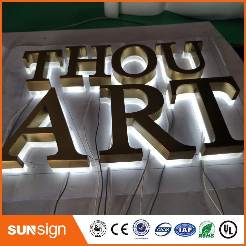 Polished /Brushed Stainless steel Backlit signage letters LED 3D illuminated Channel letters signs for Advertising customized