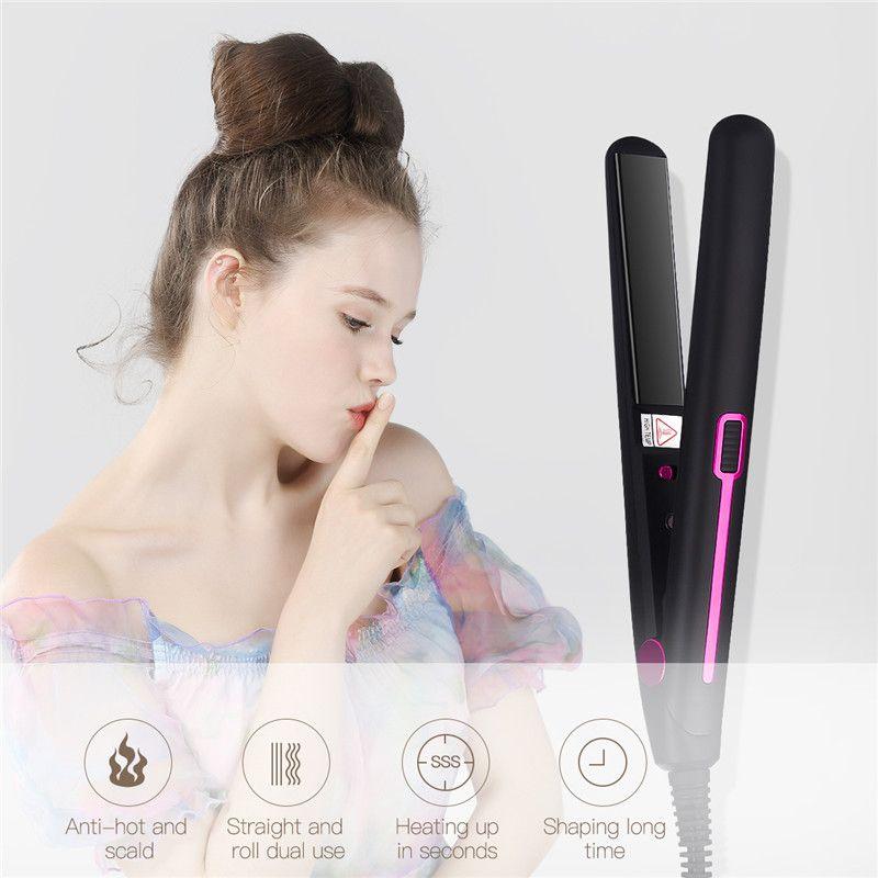 Redresseur de cheveux électrique à température constante professionnel en alliage d'aluminium redressant le bigoudi de cheveux à double usage