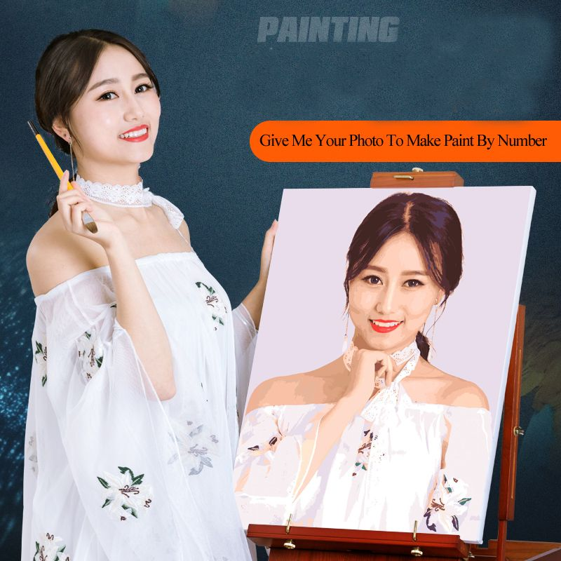 Cool ! Photo Customized Digital Oil Painting Custom DIY Oil Painting By Numbers Drawing Canvas Portrait Wedding Family Photos