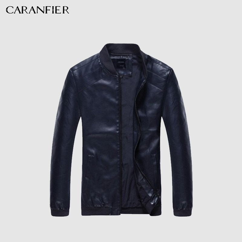 CARANFIER Brand Fashion Winter Men Leather Jacket Clothing Punk Motorcycle Jacket Quality Male Leather Coat Casual Outwear