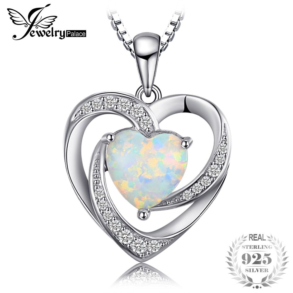 JewelryPalace Fashion 2.54ct Created Opal Heart Necklaces Pendants 925 Sterling Silver 45cm Box Chain Women Wedding Fine Jewelry