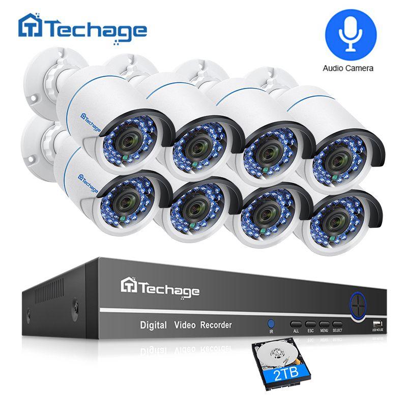 Techage 8CH 1080 P POE NVR CCTV Système de Sécurité 2MP Extérieure Enregistrement Audio POE IP Caméra IR vision nocturne P2P Vidéo kit de surveillance