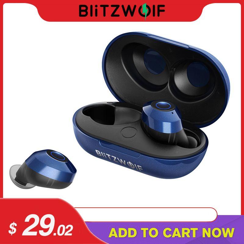 Blitzwolf FYE5 Bluetooth 5.0 sans fil vrai écouteur TWS Sport écouteurs 10M connexion stéréo écouteur IPX6 étanche bleu noir