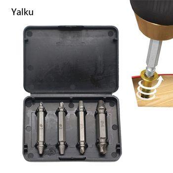 Yalku 4 pc Double Côté Endommagé Vis Extractor Drill Bits S2 Alliage acier inoxydable À Remover Boulon Boucles Outil Dril Bit Set Vis Extracteur