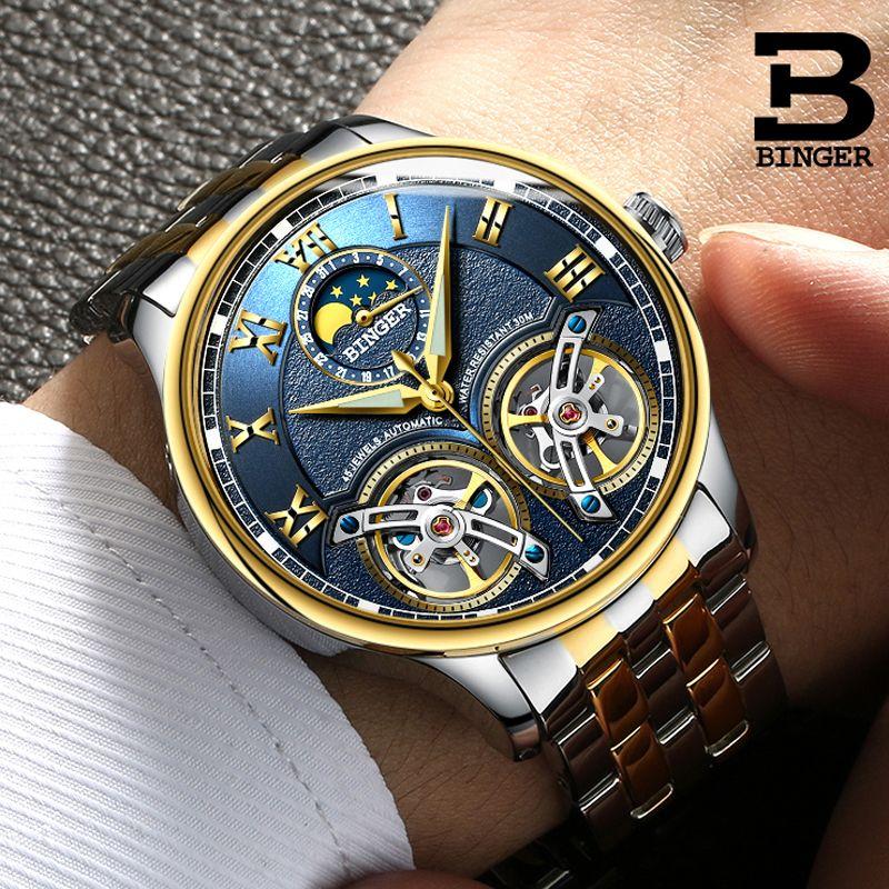 Double Tourbillon Switzerland Brands Watches BINGER Original Men's Automatic Watch Self-Wind Fashion Men Mechanical Wristwatch