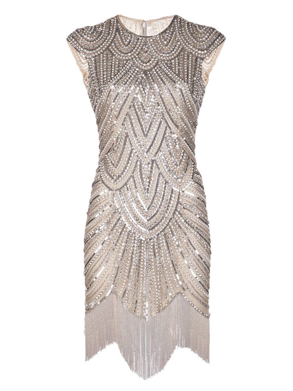 Vintage Inspiré 1920 s Gastby Main Cristaux Paillettes Embelli À Franges Aileron Parti Robe