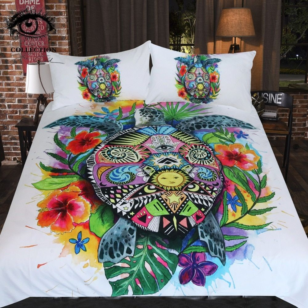 Turtle Life by Pixie Cold Art Bedding Set Bohemian Duvet Cover Set Floral Colorful Bedclothes 3pcs Tortoise Home Textiles Queen