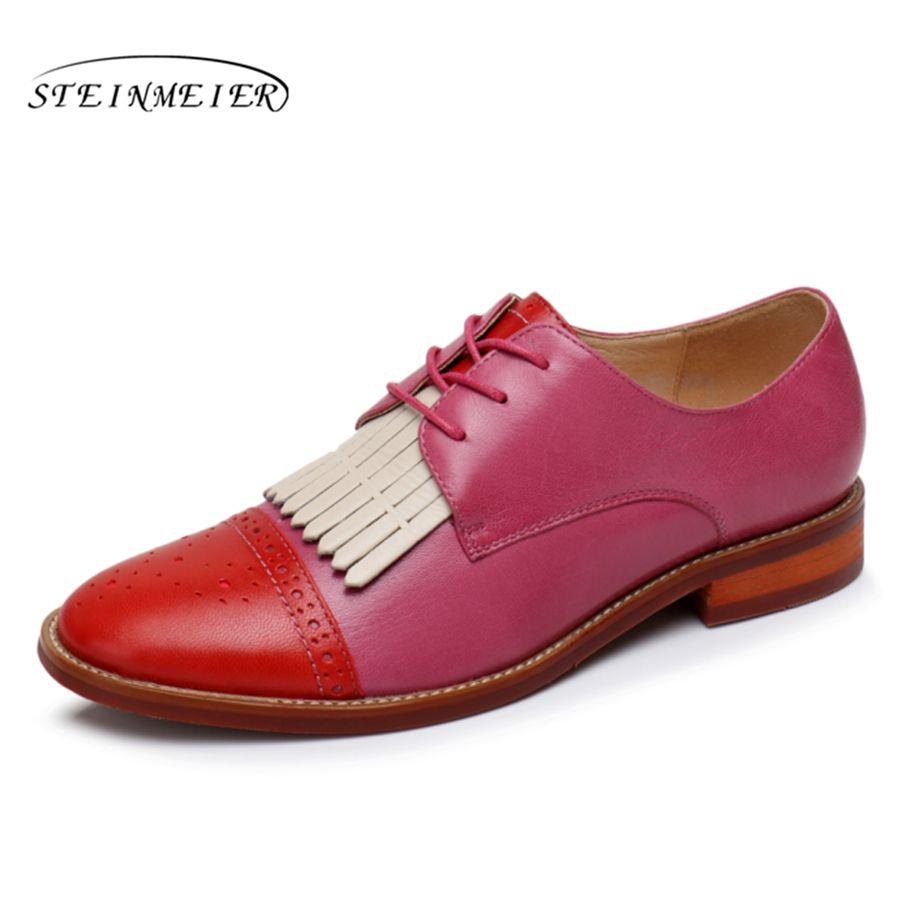 De cuero de piel de oveja de las mujeres natrual yinzo plana oxford zapatos ee.uu. 9 talla hecha a mano de la vendimia marrón rojo rosa zapatos oxford para las mujeres