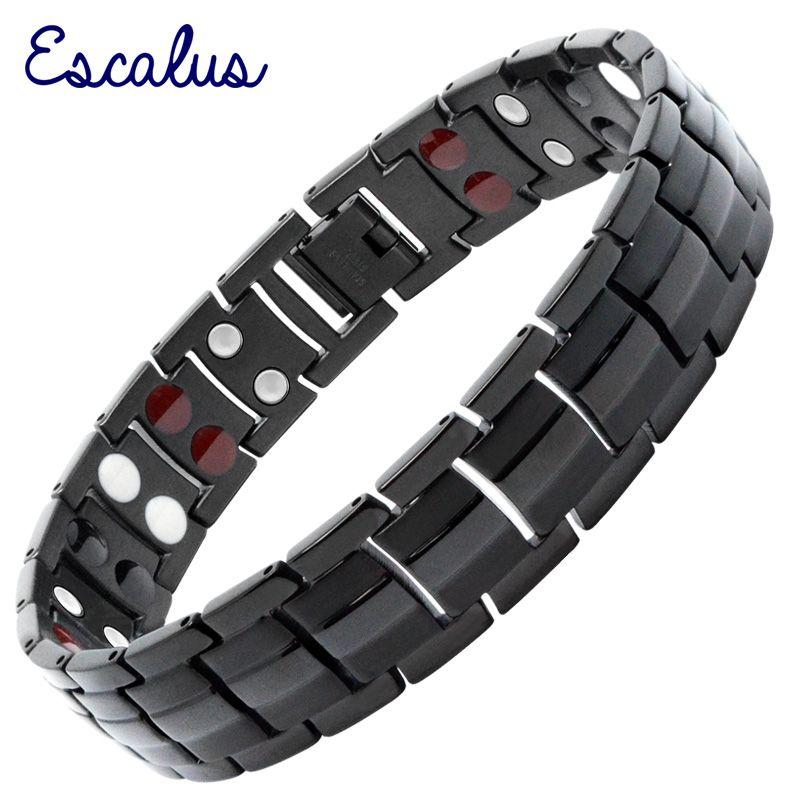 Escalus bijoux magnétiques pour hommes à la mode Bracelet couleur argent pour hommes 4in1 Joyas acier inoxydable Germanium charme nouveaux Bracelets chauds