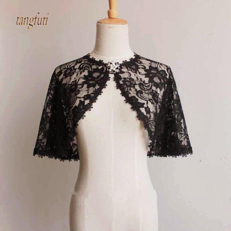 Otoño fina Encaje boda Bolero corto elegante noche CAPES marfil negro chaqueta mujeres abrigo