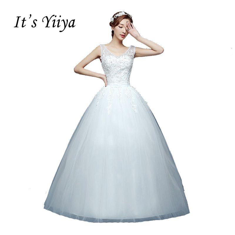2017 V-cou Plus La taille Blanc Mariée Princesse De Mode Robes De Mariée Mariée Robes De Bal De Mariage Pas Cher Robes De Mariage HS227