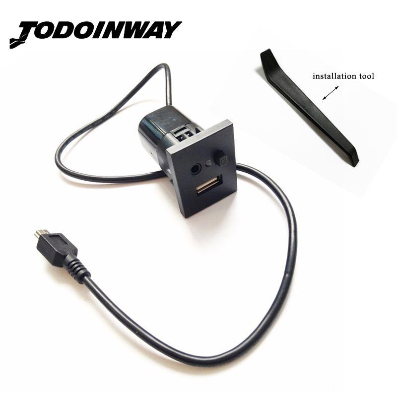Pour Ford Focus II MK2 lecteur CD 2009-2011 accessoires de voiture Mini adaptateur de câble USB 2.0 bouton de prise d'interface de fente
