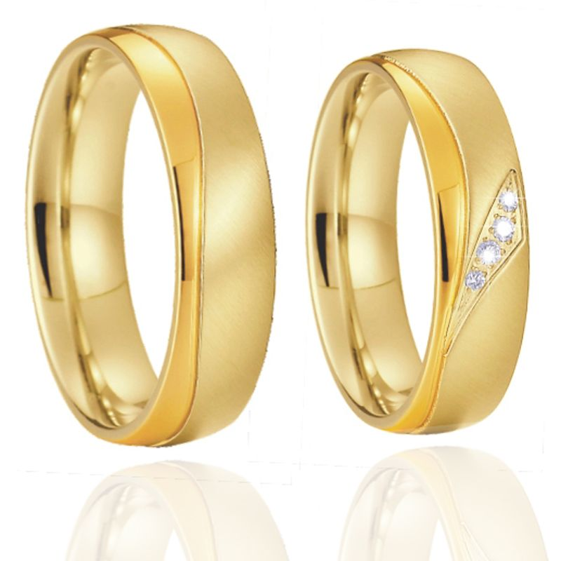 Gold color Promise Alliances Men's Ring Women's Ring fashion jewelry Wedding Band Couple Rings pair set anel anillos bijoux # 15