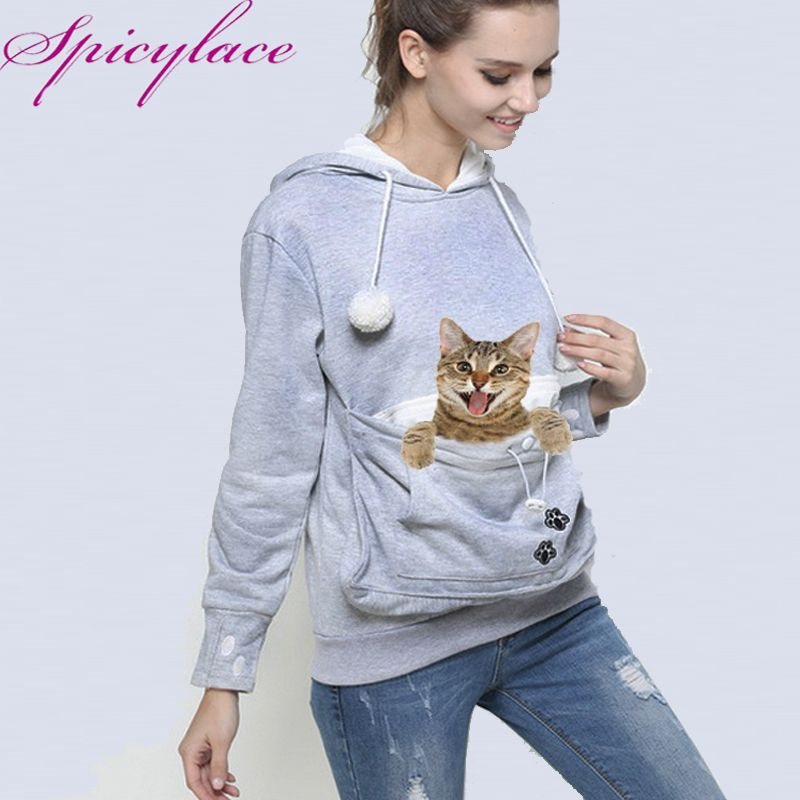 Factory seller Cat Lovers Hoodie Kangaroo Dog Pet Paw Dropshipping Pullovers Cuddle <font><b>Pouch</b></font> Sweatshirt Pocket Animal Ear Hooded