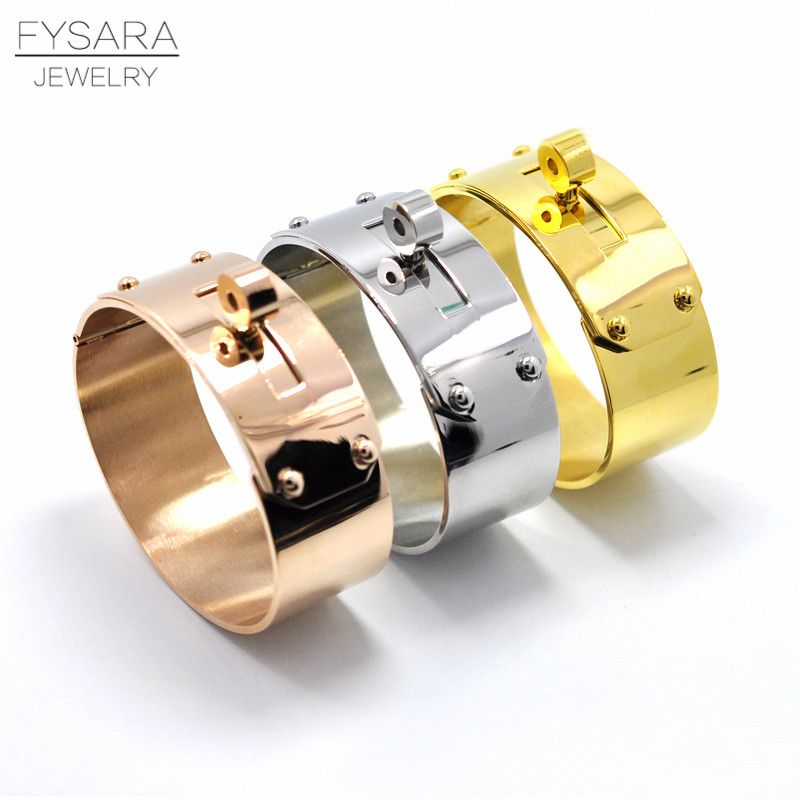 FYSARA Brand Rock Jewelry 21mm/12mm <font><b>Upper</b></font> Arm Big Wide Bracelet & Bangle For Men Women Love Jewelry Cuff Bangle Manchette