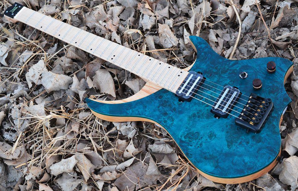 NK Headless Electric Guitar steinberger style Model blue Eye Poplar Veneer top Flame maple Neck in stock Guitar free shipping