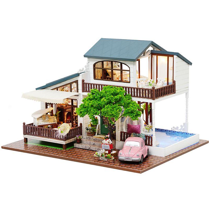 BRICOLAGE Maison de Poupée En Bois Poupée Maisons Miniature dollhouse Meubles Kit Jouets pour enfants Cadeau Londres Vacances A039