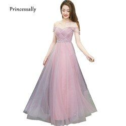 DUSTY Pink Long Gaun Bridesmaid Sweetheart Tulle dengan Harga Murah Lipit Gaun Prom Di Bawah $50 Junior Gaun Pengiring Pengantin Dama Gaun