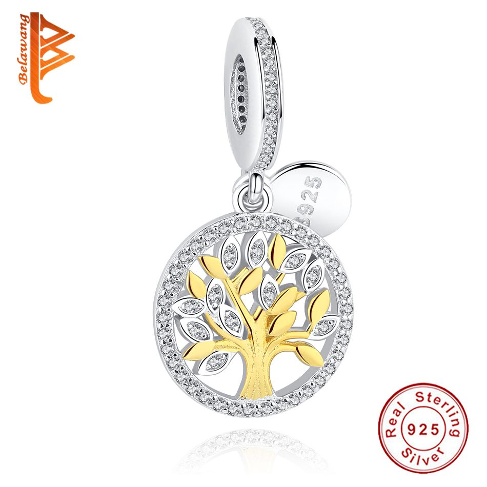 Authentic 925 Sterling Silver Charm Gold Color Family Tree Charm Beads Fit Original BW Bracelet Pendant Luxury DIY Jewelry