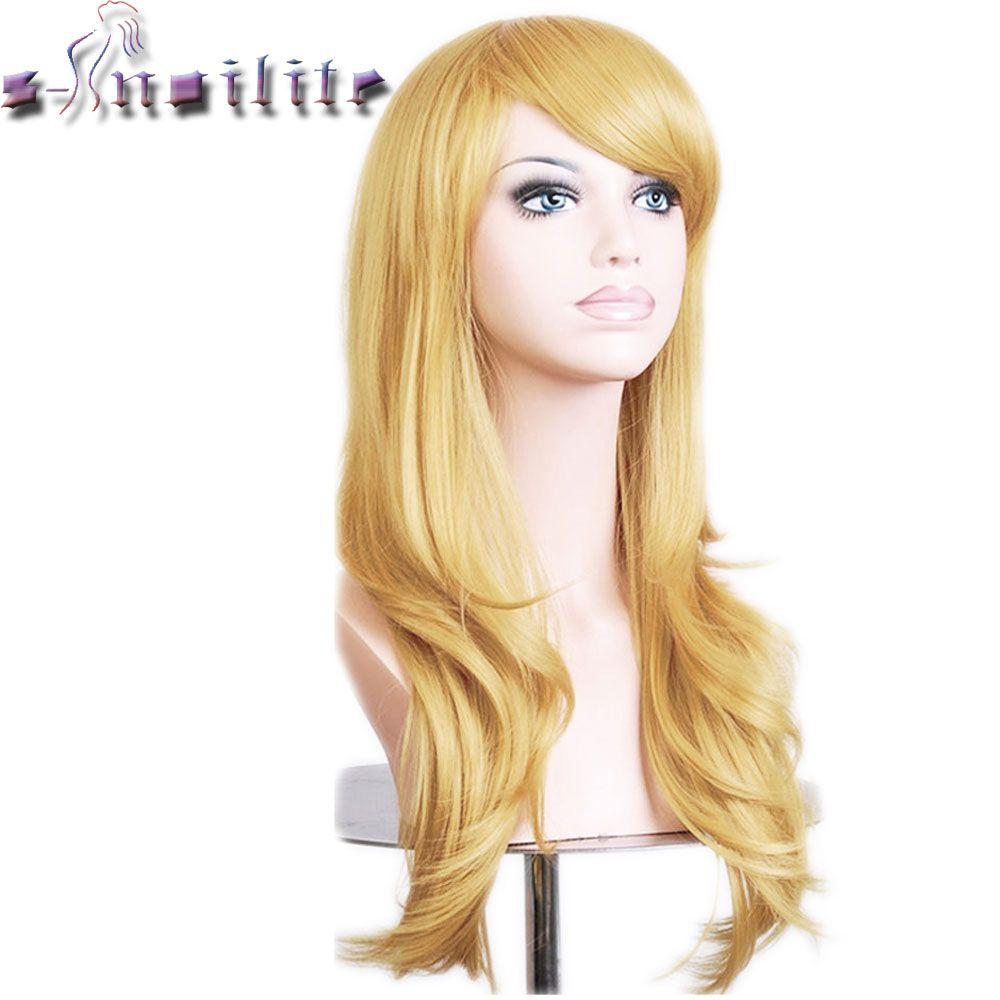 S-noilite 56CM Loose Wave Synthetic Wigs for black women Cosplay wig Blonde Blue Red Pink Grey Purple Hair for human party