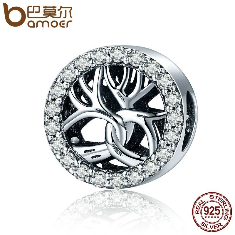 BAMOER High Quality Authentic 925 Sterling Silver Tree of Life Sparking CZ Charms Beads fit Charm Bracelets Fine Jewelry SCC222