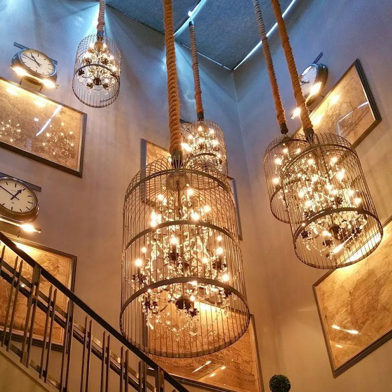 Retro Cage Crystal Pendant Light Indoor Lamp For Home Coffee shop Loft Creative Balcony Restaurant LED E14