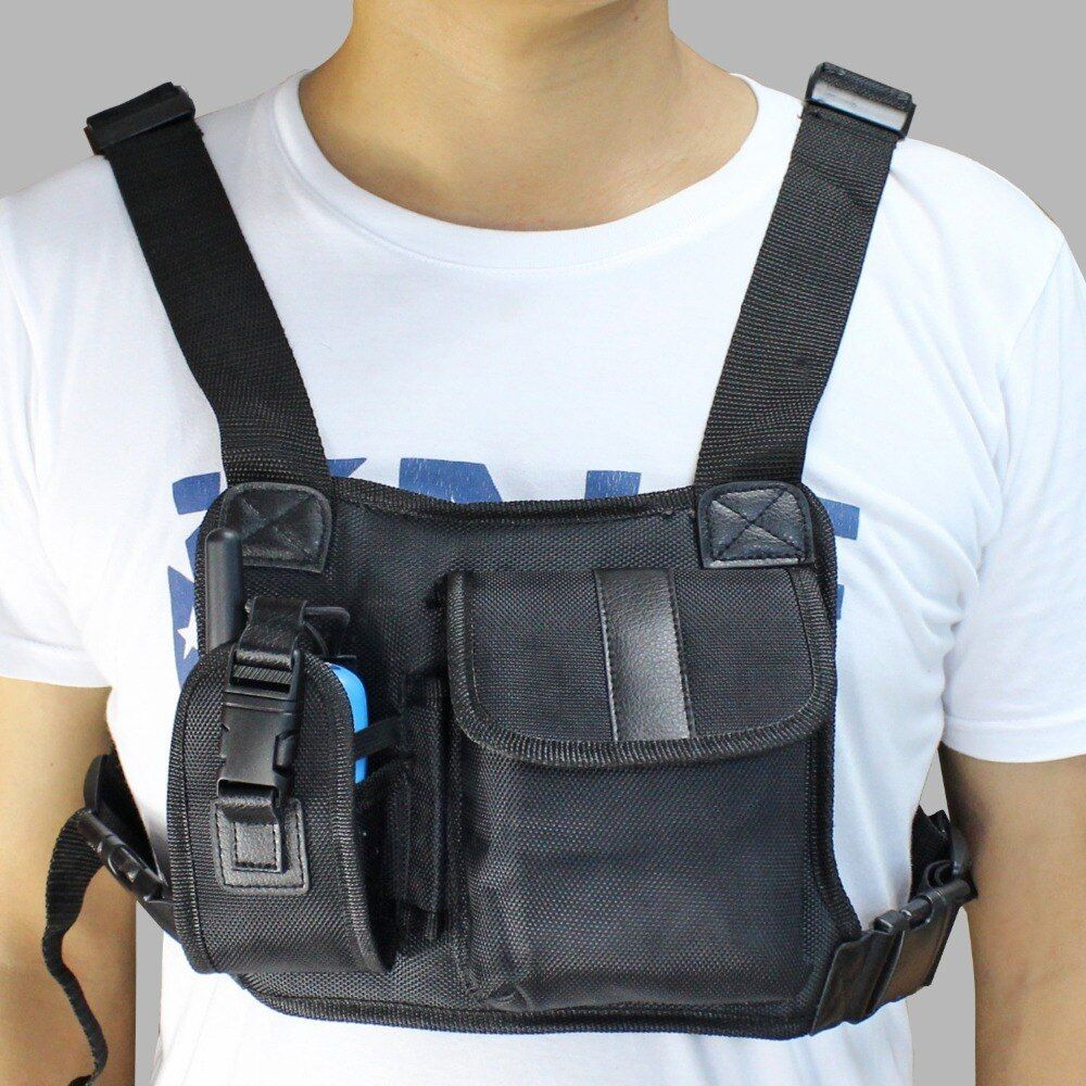Walkie talkie Chest Pocket Backpack Black for Ham CB Radio very convenient carry bag J6502A
