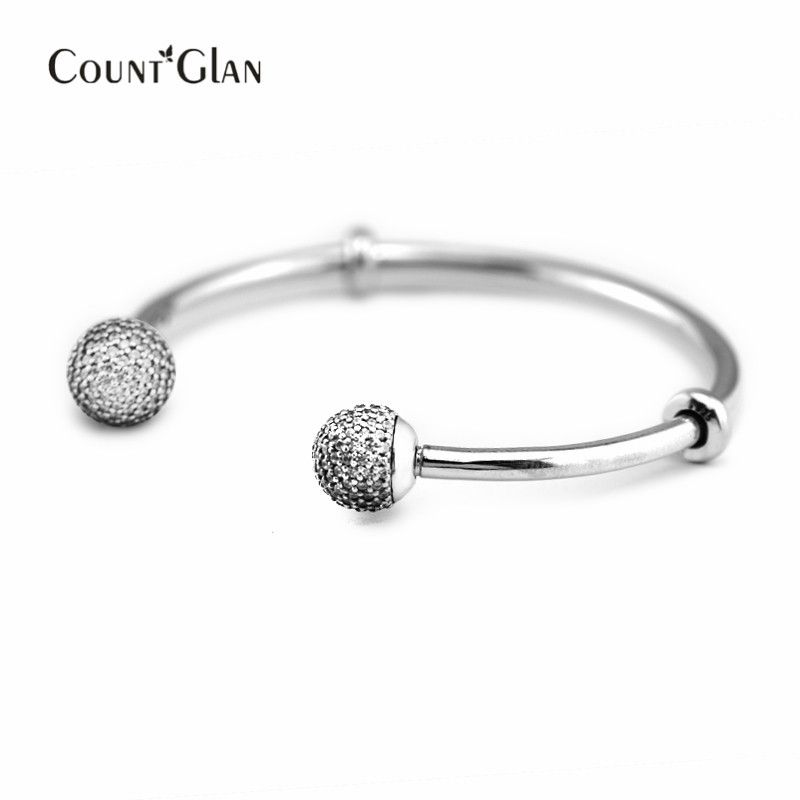 summer New 925 Sterling Silver Jewelry Signature Clasp Silver beads Bracelets With Clear CZ Bangle Women DIY Fashion Jewelry