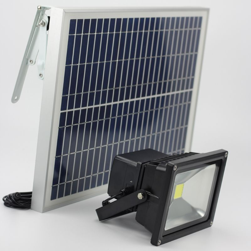 20W Solar Light Solar Powered Spotlight Lawn Landscape Flood Lamp Emergency Lighting Runtime 12 Hours Outdoor Waterproof