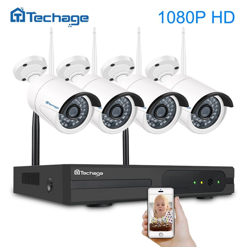 Techage 4CH 1080P Wireless NVR Kit Wifi CCTV Camera System Outdoor 2MP Security IP Camera P2P Video Surveillance System 1TB HDD