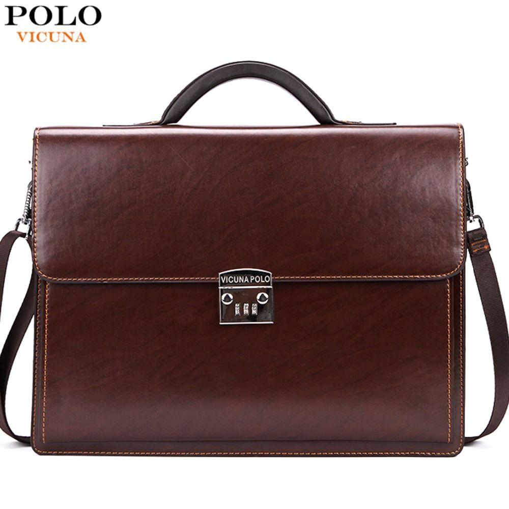 Vicuna polo luxus berühmte marke passwortsperre leder männer aktentasche business büro tasche leder maleta große mann portfolio