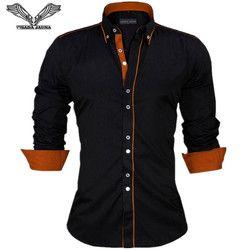 VISADA JAUNA Hommes Chemises Europe Taille Nouveautés Slim Fit mâle Chemise Solide À Manches Longues de Style Britannique Coton Hommes Chemise N332
