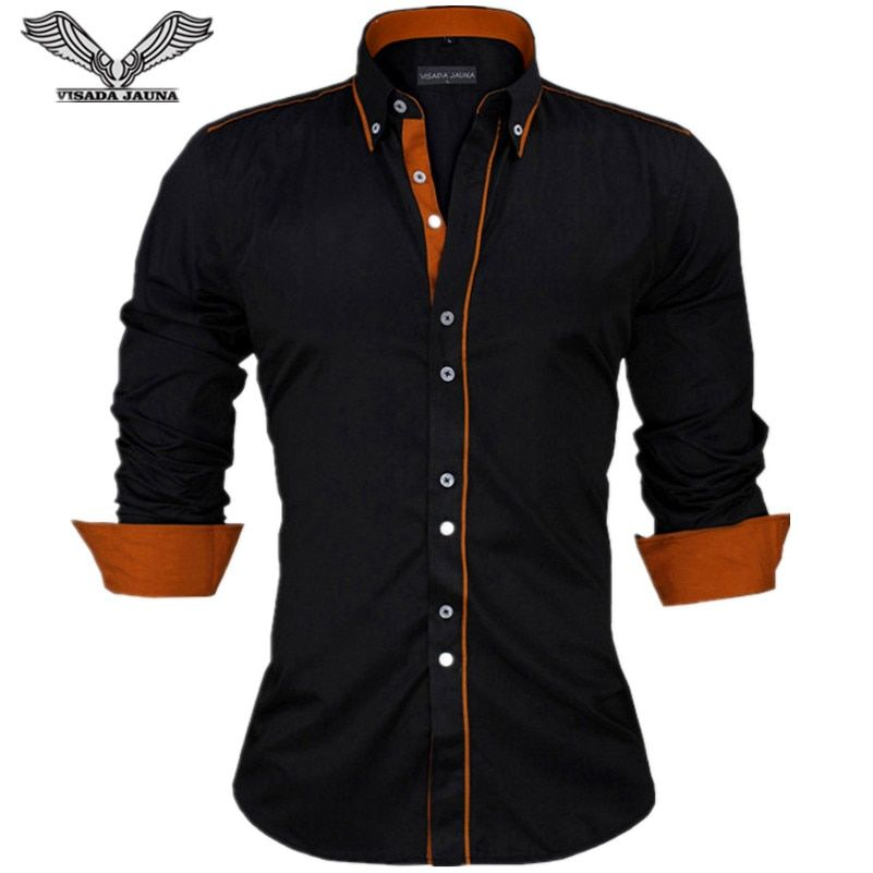 VISADA JAUNA Men Shirts Europe Size New <font><b>Arrivals</b></font> Slim Fit Male Shirt Solid Long Sleeve British Style Cotton Men's Shirt N332