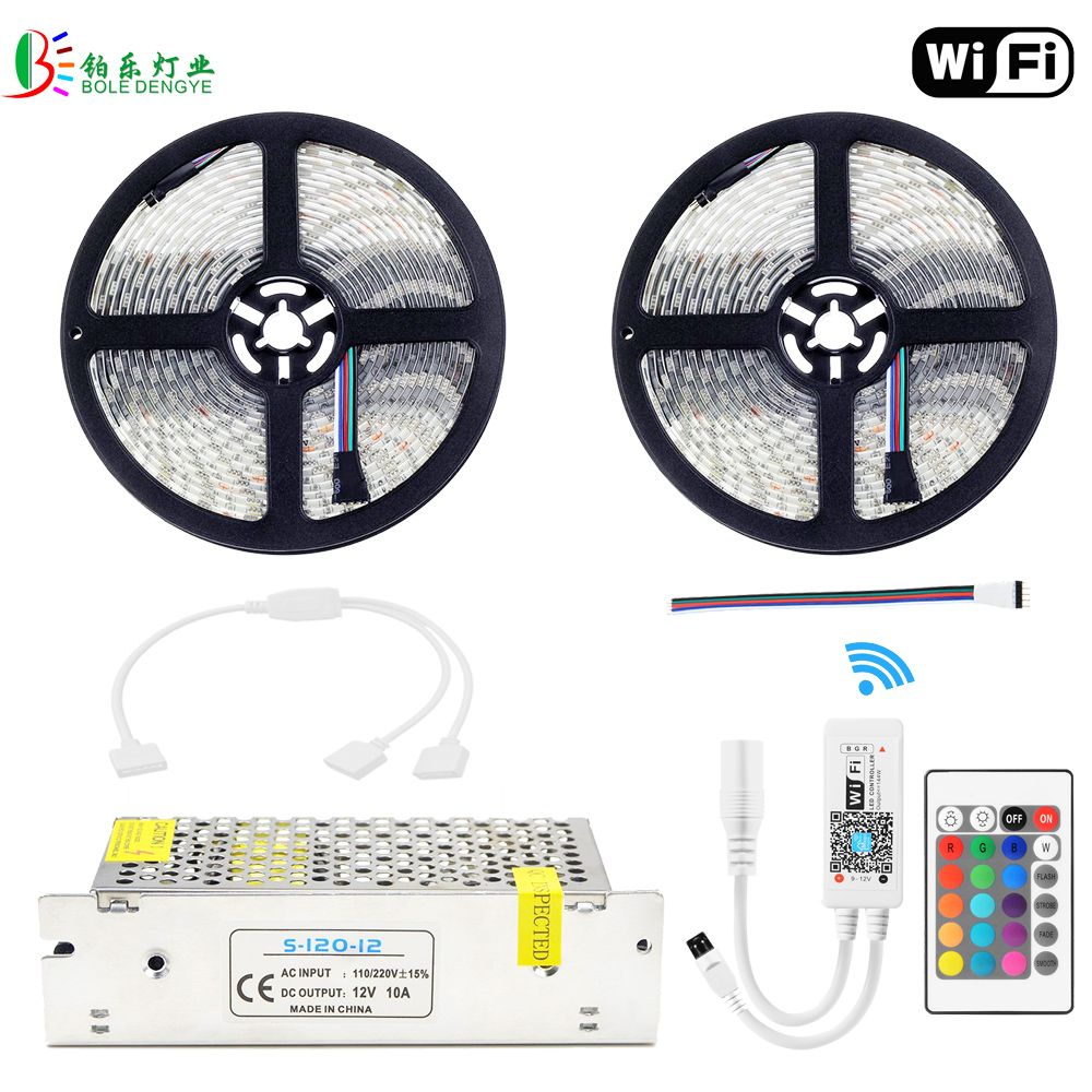 RGBW LED Strip 10M Waterproof RGBWW WIFI Diode Tape 5050 RGB Warm White Fita Mini WIFI RGBW Controller DC12V LED Power Supply