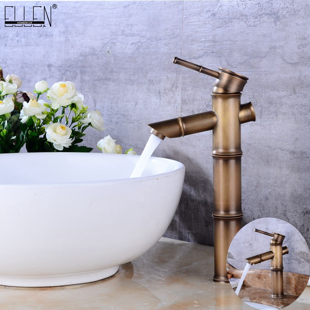 Antique laiton cascade salle de bains évier robinet navire grand bambou robinet d'eau mélangeur chaud et froid unique trou bassin robinet Vintage