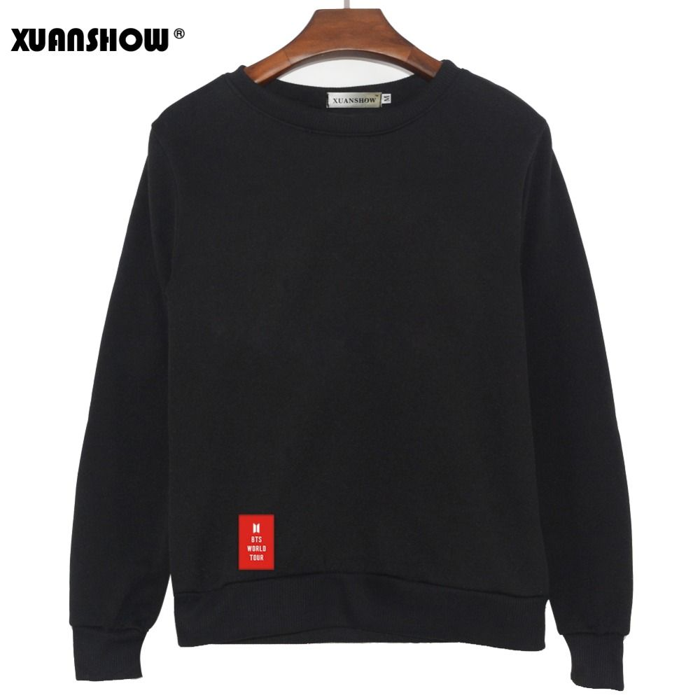 XUANSHOW 2019 New BTS WORLD TOUR LOVE YOURSELF Letters Fashion Sweatshirts Streetwear Man woman Pullover Clothes Sudaderas 5XL