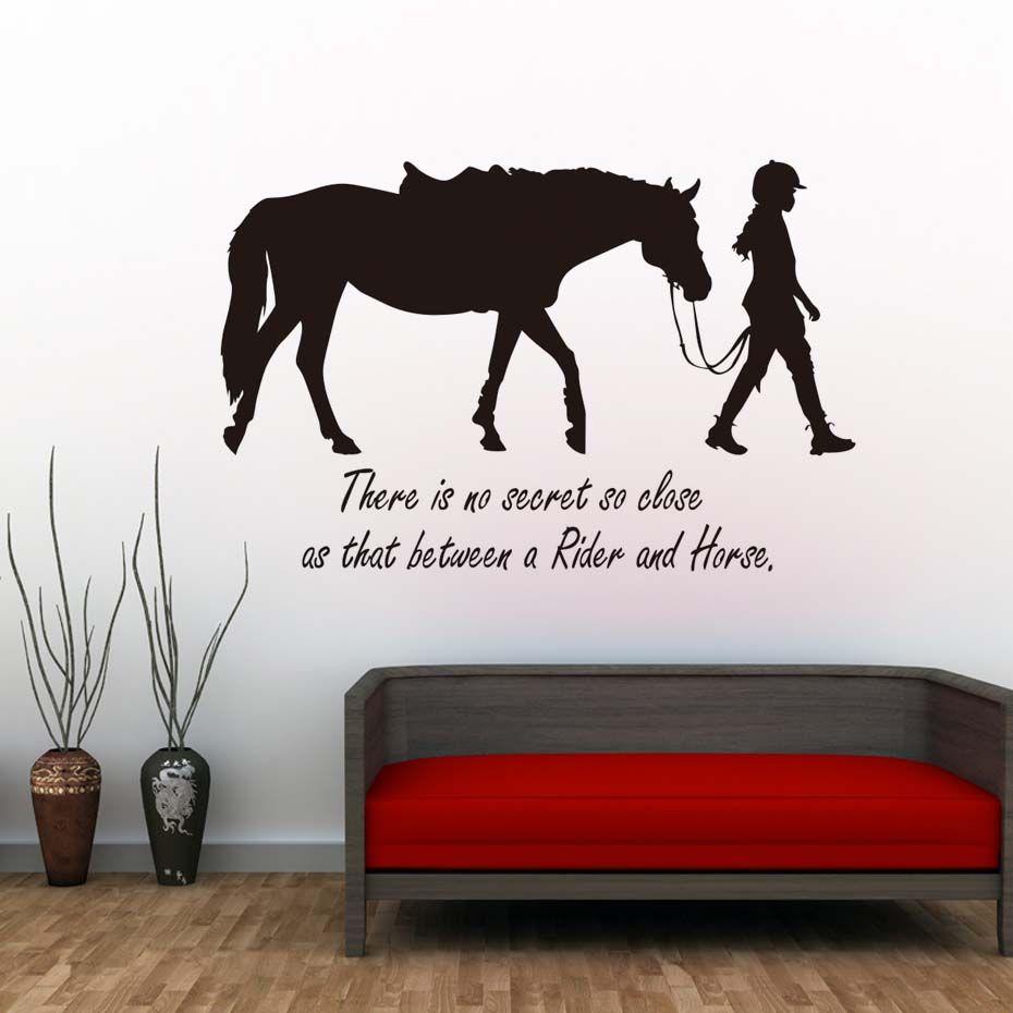 Существует не секрет так близко девушка и лошадь Наклейки на стену Спальня диван Задний план Съемный стены таблички