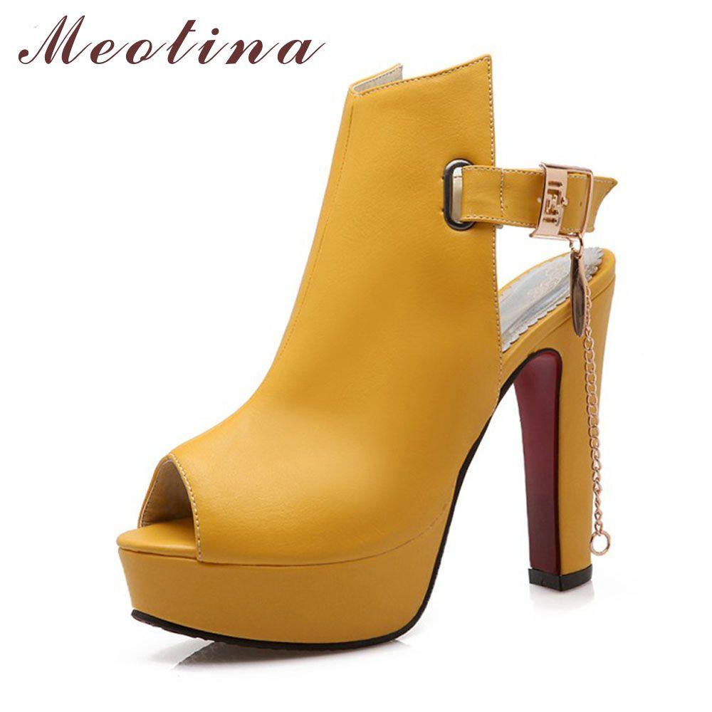 Meotina Chaussures Femmes Talons hauts Pompes Printemps Peep Toe Gladiateur Chaussures Femme Chaînes Paillettes Haute Talons Plate-Forme Chaussures Jaune 43