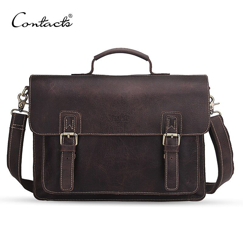 CONTACT'S genuine leather men's briefcase messenger bags retro 14