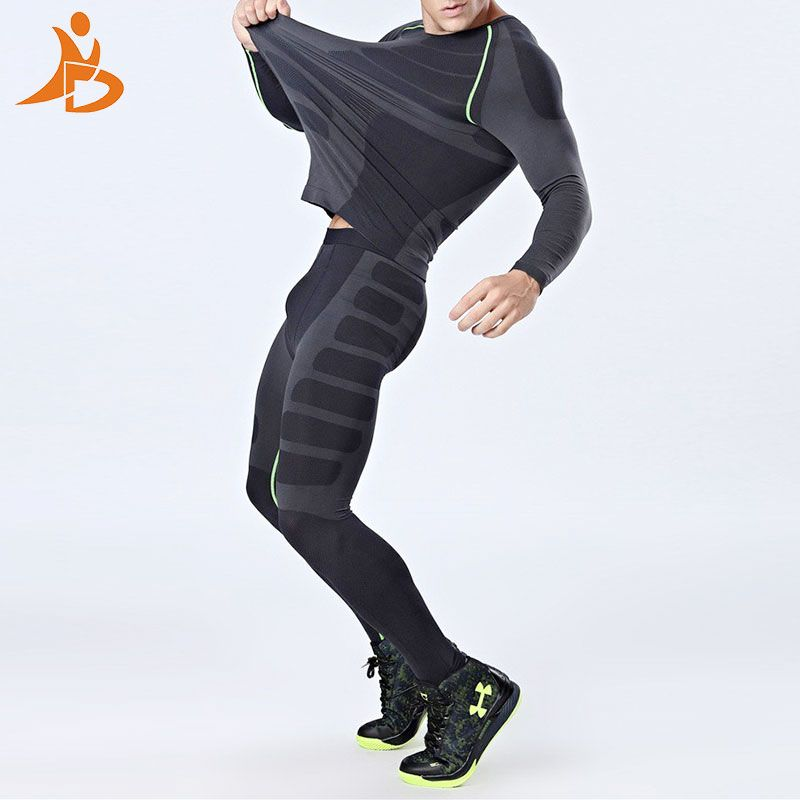 YD Neue Compression Quick Dry Eng Trainingsanzug Männer Training Fitness Shirt Männlichen Oansatz Gym Set Sport anzug