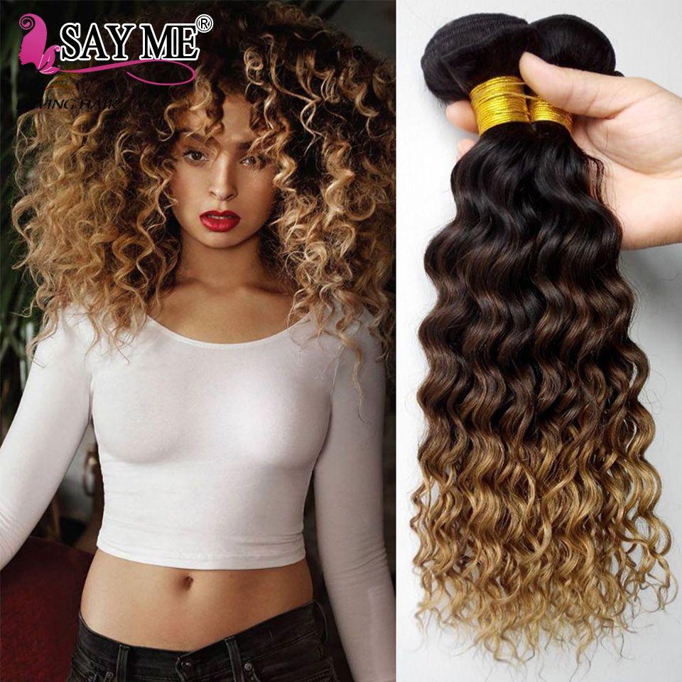 Vague profonde Bundles Ombre Armure Brésilienne de Cheveux Humains Bundles 1B/4/27 Remy Honey Blonde Extensions de Cheveux Peut acheter 1/3/4 Bundles