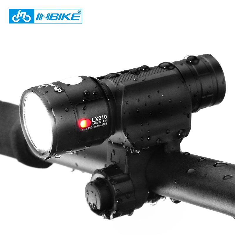 Inbike Bike Light Bicycle Flashlight LED Bike Front Light Cycling USB Rechargeable Headlight Biking Lamp Fietslicht LX210