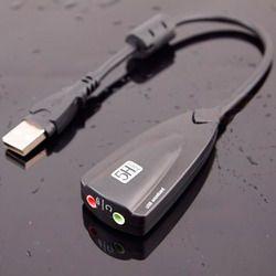 TISHRIC Antimagnétique Externe USB Carte Son 7.1 Adapter 5HV2 3D Audio Casque Microphone 3.5mm Pour PC Portable Professionnel