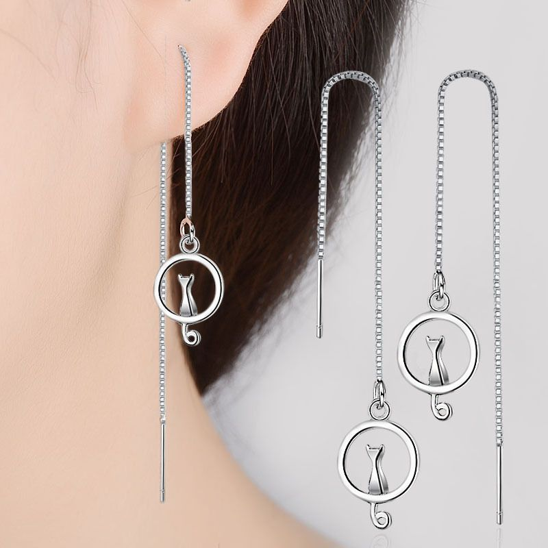 RUOYE Fashion 925 Sterling Silver Cat Drop Earring  Round Tassel Design Earring For Women Dangle Silver Jewelry