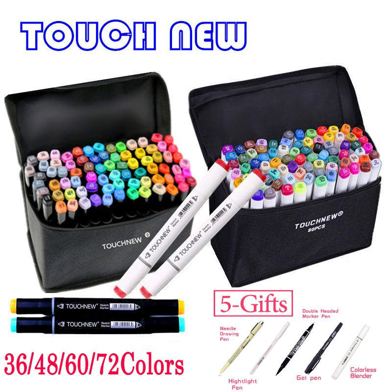 TOUCHNEW 36 48 60 72 168Colors Dual Head Art Markers Alcohol Based Sketch Marker Pen For Drawing Manga Design Supplies